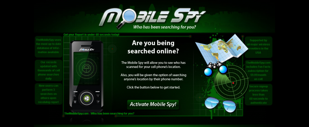 Mobile Spy Cell Phone Tracking Landing Page