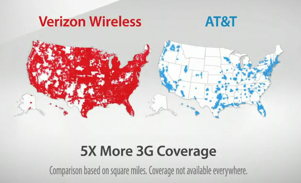 Verizon vs AT&T 3G coverage