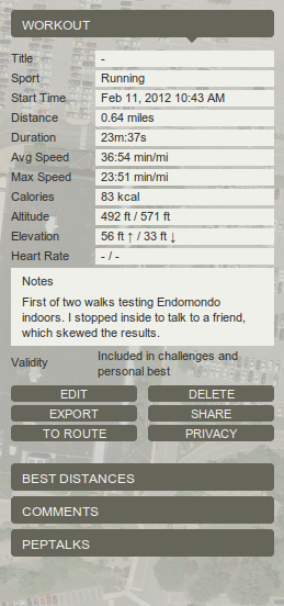 Endomondo Edit Workouts